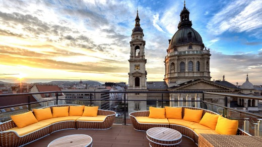 Love Nest at High Note SkyBar at the Aria Hotel in Budapest, Hungary.
