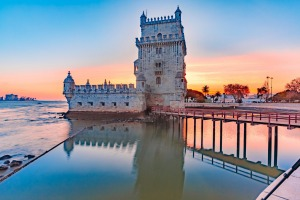 Belem Tower in Lisbon at sunset.