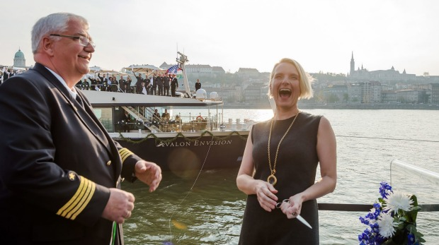 Captain Ralf Remus with writer Elizabeth Gilbert, godmother of Avalon Envision.