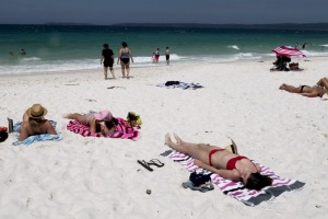 """Hyams Beach has become overcrowded due to its reputation for having """"the world's whitest sand""""."""