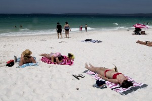 "Hyams Beach has become overcrowded due to its reputation for having ""the world's whitest sand""."
