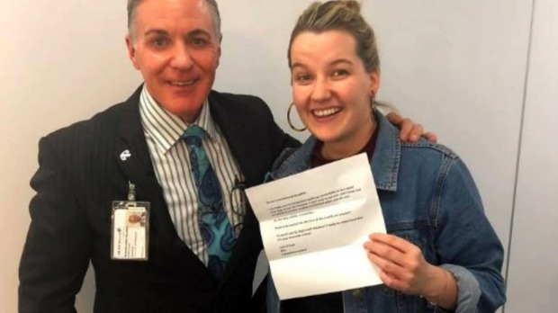 "Air New Zealand staff helped Bridie Connell's dad deliver a ""pinch and punch"" for the first day of the month on May 1."