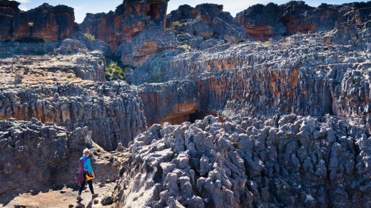 A climber walking off the top of Wolfberg in the Cederberg of South Africa.
