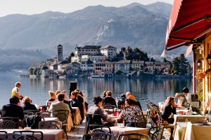 A restaurant along Lake Orta, Italy.