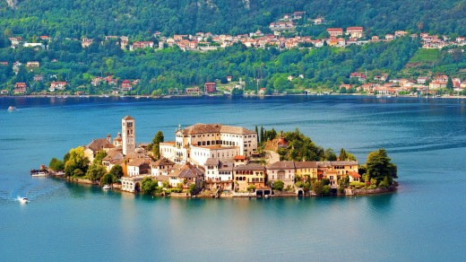 Julius Island on Lake Orta in Piedmont, Italy.