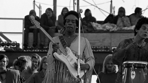 Jimi Hendrix performing his legendary two-hour set at Woodstock in Bethal, New York on August 18, 1969.