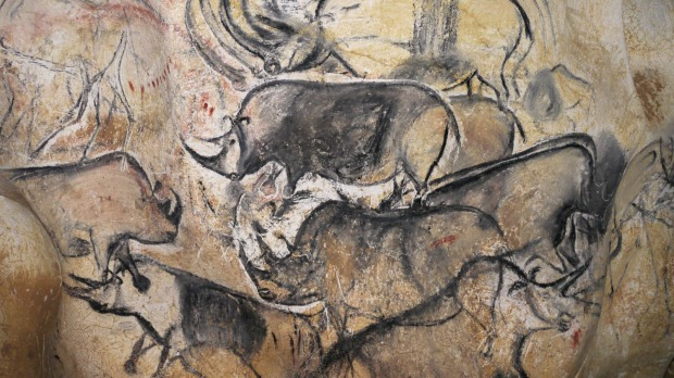 Rock art in Chauvet Cave in France.