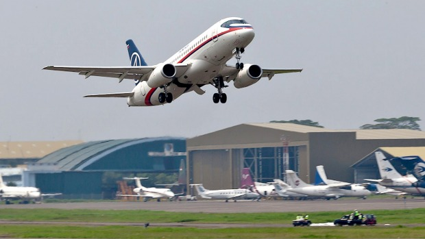A Sukhoi Superjet 100 takes off from Halim Perdanakusuma airport in Jakarta in 2012 on a demonstration flight. The plane ...