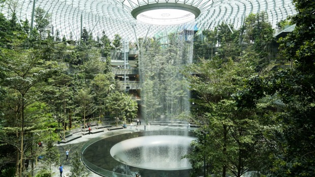 Where will you find this amazing indoor waterfall, the Rain Vortex?