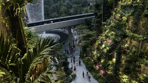 People walk through the Forest Valley garden at Jewel Changi Airport prior to its opening last year in Singapore.