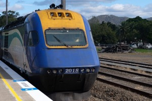 The train from Sydney to Coffs Harbour takes about nine hours to travel 450 km.