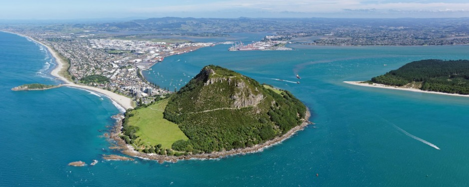 Panoramic aerial view of Mt Maunganui and Tauranga, North Island, New Zealand.