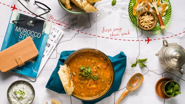 Moroccan soup from The Kitchen by Wolfgang Puck at Dubai airport.
