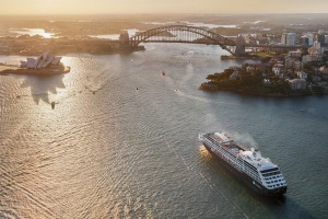 An Azamara ship sails into Sydney.