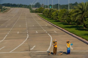 The only signs of life in Naypyidaw are the straw-hatted street sweepers.