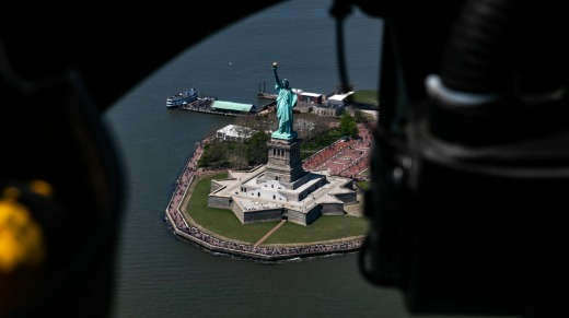 The Statue of Liberty is seen during a Blade helicopter ride above New York.