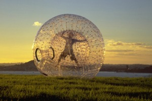 Zorbing involves rolling down a hill inside an inflatable, clear plastic zorb.