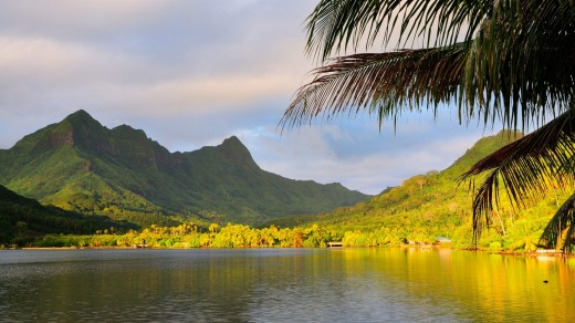 Faaroa Bay and Mount Oropiro, Raiatea, French Polynesia.