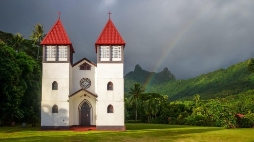 Haapiti church on Moorea, French Polynesia.