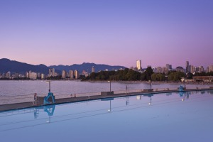 Looking from Kitsilano pool towards the city centre.