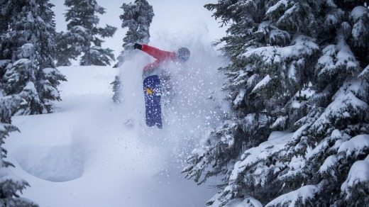 Justin Lamouroux rides deep powder on Blackcomb's Fraggle Rock during the filming of a movie.