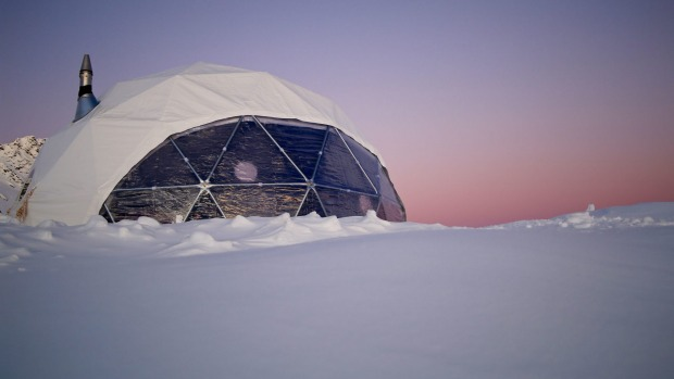 The Geo Dome at Adventure Consultants' Alpine Heli-Camp Wanaka, New Zealand.