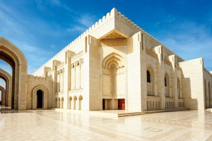 Sultan Qaboos Grand Mosque in Muscat, Oman.