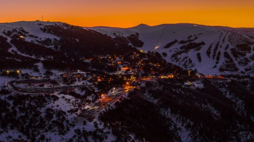 Falls Creek village at sunset.