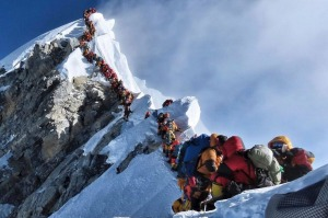 This photo showing climbers queuing to reach the summit of Everest went viral last month.