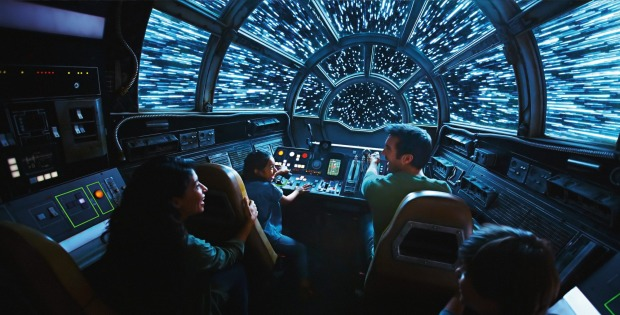 Inside the Smugglers' Run Millennium Falcon ride.