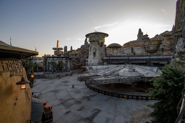 The vast site is centred around a life-size Millennium Falcon, more than 30 metres long – according to Disney, it's the ...
