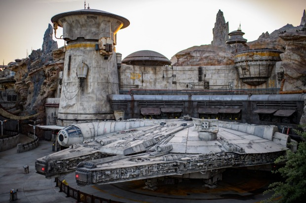 The iconic Millennium Falcon is the centrepiece of Disneyland's new attraction, Galaxy's Edge.
