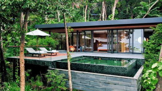 The resort, which opened in March, was built using sustainable and often recycled materials.