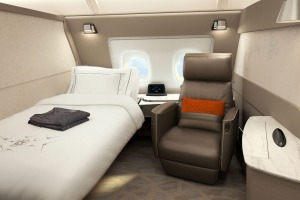 A Singapore Airlines first-class suite on board an Airbus A380 superjumbo.
