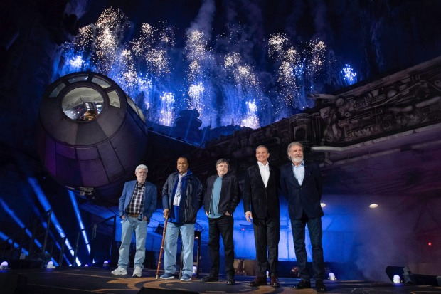 Star Wars creator George Lucas, actors Billy Dee Williams, Mark Hamill, Walt Disney Company Chairman and CEO Bob Iger ...