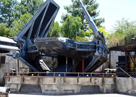 A full scale version of Kylo Ren's fighter is also in the park.