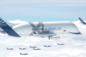 The fleet included the A220, A319neo, A330-900, A350-1000, A380 and the BelugaXL.