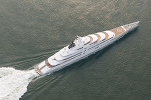 Sheikh Khalifa bin Zayed Al-Nahyan's 180-metre Azzam,  the biggest superyacht in the world.