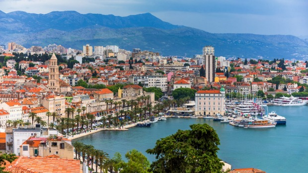 View of Split city, Diocletian Palace and Mosor mountains in background.