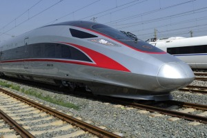 China's high-speed trains have reached 487km/h in trials, but 350km/h is the maximum speed on commercial routes.