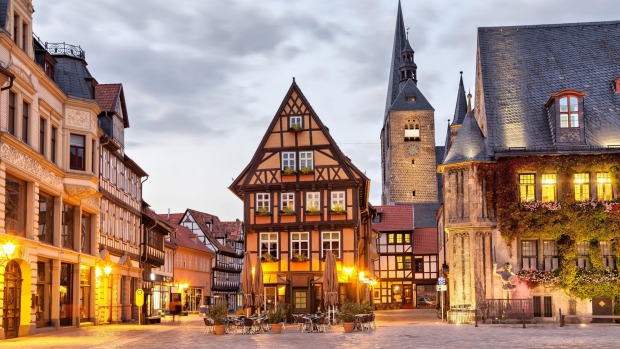 Evening falls at Quedlinburg's heritage-listed Market Square.