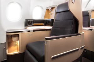 Business class seat on board the Qantas Airbus A330.