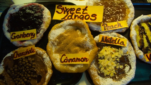Sweet langos, deep fried flat bread with sweet toppings.