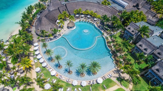 Aerial view of Lux Belle Mare, Mauritius.