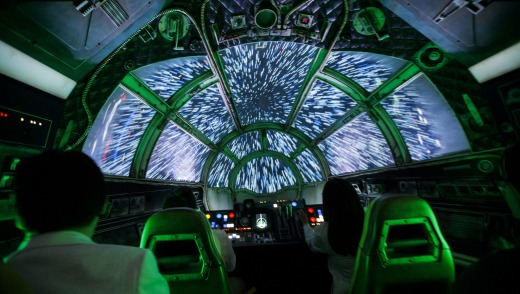 Jumping to lightspeed throws you back in your seat in the Smuggler's Run ride.