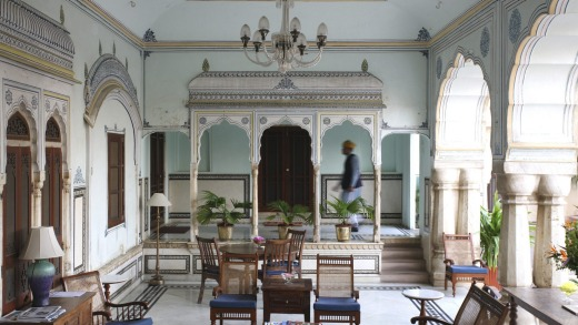 The romantic Samode Haveli hotel is an oasis of calm away from the bustling Jaipur Literature Festival.