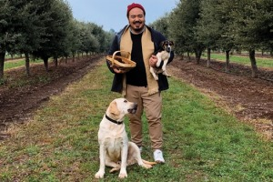 Adam Liaw hunting for truffles at Tasmanian Truffles.