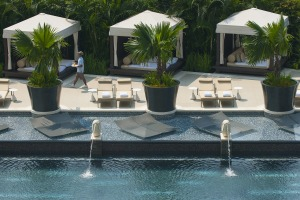Private cabanas by the pool.