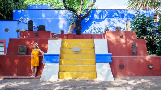 The garden of the colouful Frida Kahlo museum in Coyoacan, Mexico City.