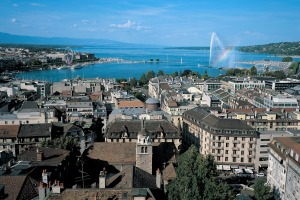 Geneva and the lake with its famous water jet.